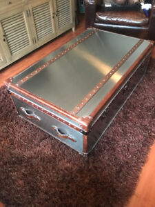 Restoration Hardware Brushed Steel Mayfair Steamer Trunk Coffee