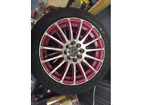 Pink alloy wheels