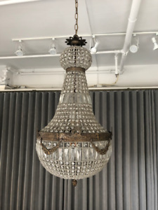 Vintage Crystal and Brass Chandelier