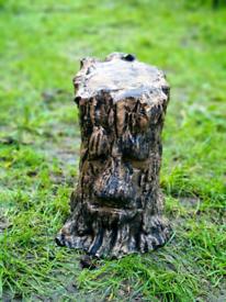 Large Solid Concrete Golden Green Man Tree Face Stump Garden Ornament