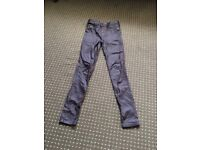 Size 6 purple, leather look jeans