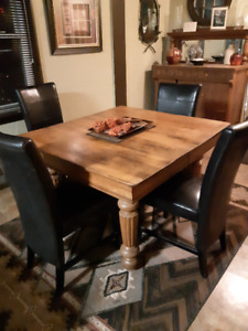 Antique, Solid Oak Harvest Table and Chairs