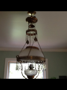Antique Victorian  hanging oil/kerosene Lamp (converted to elec.