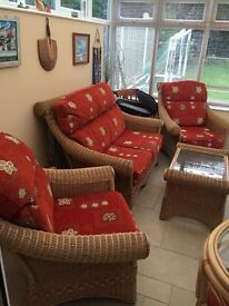 Wicker 2 Seater Sofa & 2 Arm Chairs & Coffee Table £150