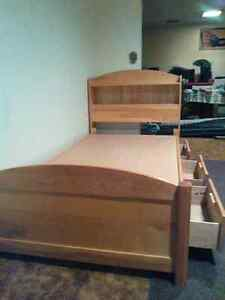 Solid wood captain's bed. Prince George British Columbia image 3