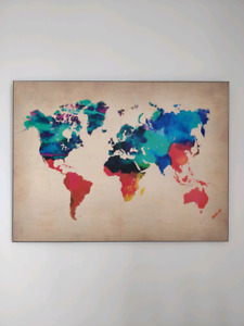 Carte du monde aquarelle laminée / Watercolour world map