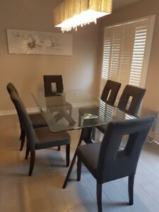 Dining set - Glass table and 6 grey fabric chairs