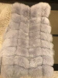 FUR JACKET, REAL FUR,Fox, in grey, super soft, the real fur 100%