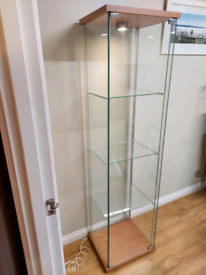 Ikea glass display cabinet with light.