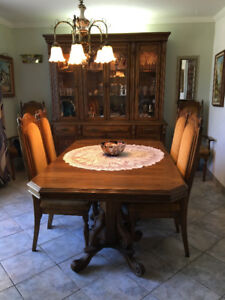 Wood table with hutch