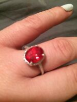 Created ruby silver ring