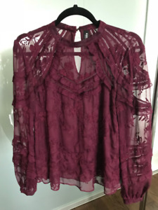 Ever New - Burgundy Lace Blouse - Size Small