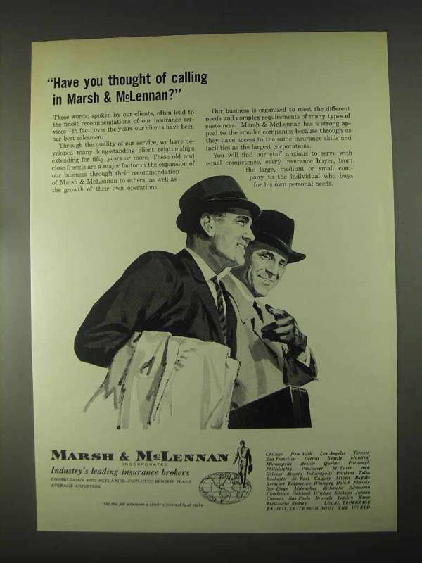 1967 Marsh & McLennan Insurance Ad - Thought of Calling
