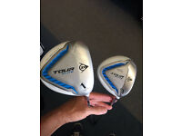 DUNLOP TOUR ELITE DRIVER & 3 WOOD. GOOD CONDITION WITH HEADCOVERS