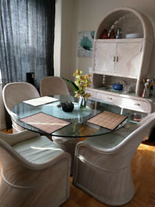 Rattan dining set (seats 4) and hutch - $500 (Stevensville)