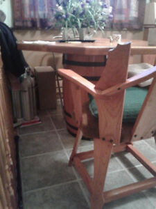 rustic pine octagon table and 4 pine chairs