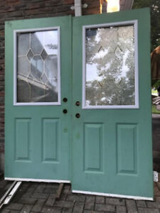 32 34 36 inch steel glass exterior French patio entry door