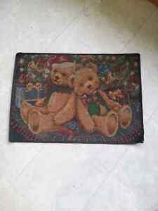 Xmas Bear Rubber Backed Floor Mat