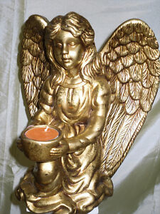 Gold colour pottery ANGEL with candle