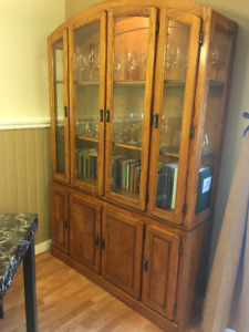 Tall wood/glass dining shelf and cupboard