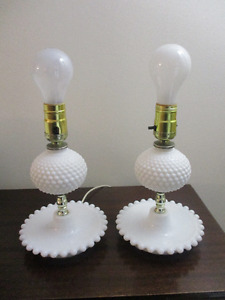 Vintage Milk Glass Hobnail Lamps - Working!