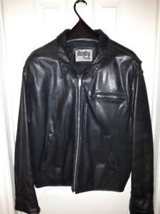 'Rugby' North America – Black Leather Motorcycle Men's Jacket