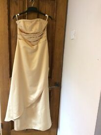 Gold full length dress with diamanté detail size 8