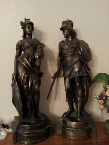 A set of TWO Bronze statue with marble bases