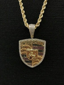 10k Yellow Gold And Diamond Porsche Pendant Set With Rope chain