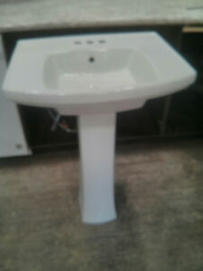 24 in. Vitreous China Pedestal Bathroom Sink with Overflow