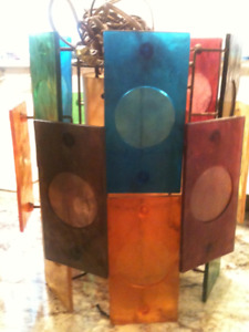 Mid Century  colored Lucite Panels hanging Swag Lamp with Patina