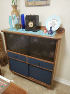Vintage wood glass cabinet, sideboard and small bamboo table