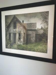 Framed print on canvas