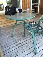 Patio table and 2 chairs.