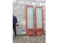 Antique heavy double doors with etched glass for sale ,excellent Condition Can deliver