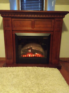 Fireplace - Solid Stained Hardwood Mantle with Electric Insert