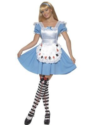 Alice Wonderland Fancy Dress (Adult Alice Princess Costume Wonderland  Fancy Dress Outfit Party FREE Stockings)