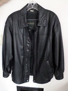 ladies' black leather jacket $50.00,  mini pinstripe blazer in w