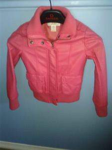 Pink Faux Leather Girls Jacket