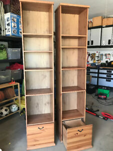 2 Tall Bookshelves w/ Rolling File Drawers
