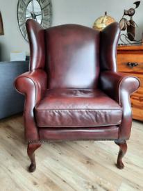 Laura Ashley Denbigh wingback leather chair armchair