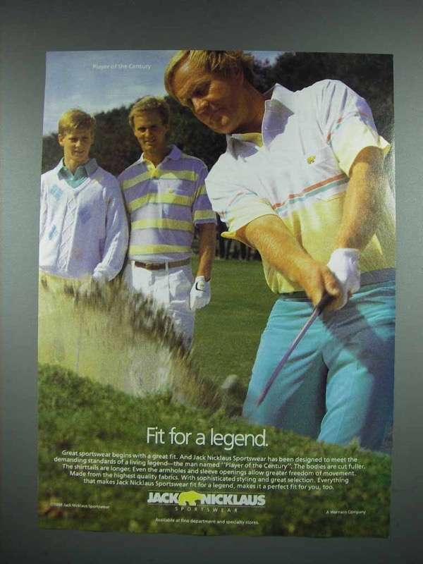 1988 Jack Nicklaus Sportswear Ad - Fit for a Legend