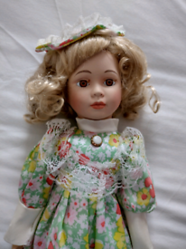 14 Inch 1970s Vintage Porcelain Doll. Can be viewed on garden table!!