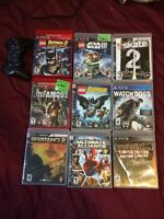 Playstation 3, 9 games and 1 controller