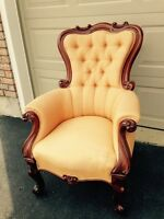 Victorian carved mahogany arm chair.