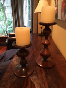 Wooden Spindle Candlesticks