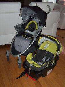Poussette et siège d'auto coquille eddie bauer pour bébé