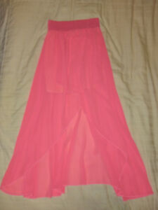 Neon Pink High-Low Skirt