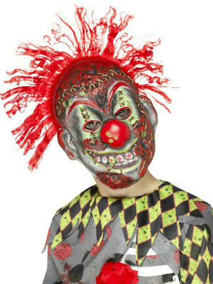 Smiffy's Child Twisted Clown EVA Halloween Costume Mask with Crazy Red Hair - Crazy Hair Halloween Costumes