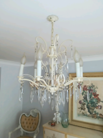 Gorgeous French style ivory glass drops light chandelier light